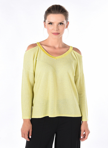 Optique Knitwear Düz V Yaka Standart Boy Uzun Kol Penye Bluz Sarı